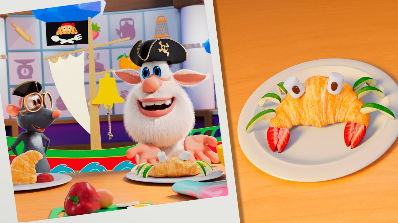 Booba 🥐🦀 Food Puzzle: Crabs, Pirates, Croissants! 🦞🏴☠️ Funny cartoons for kids - Booba ToonsTV