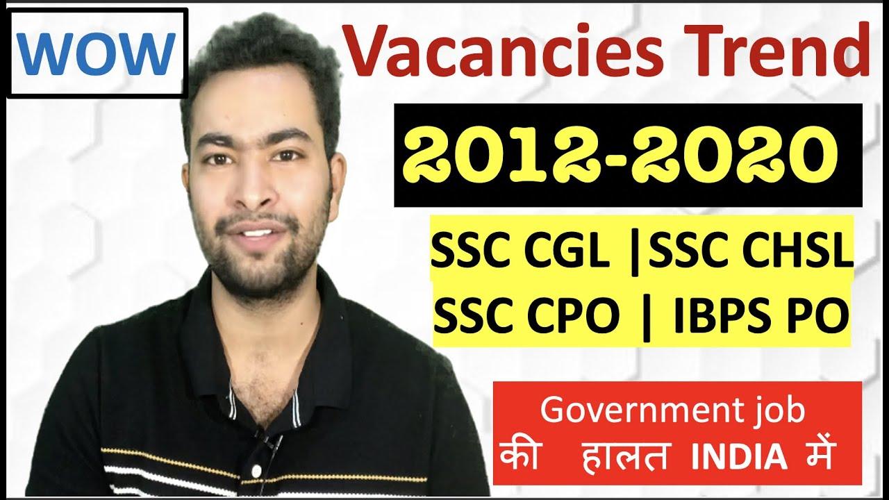 SSC Exams (SSC CGL, SSC CHSL, SSC CPO, etc) Vacancies Trend 2013 to 2020