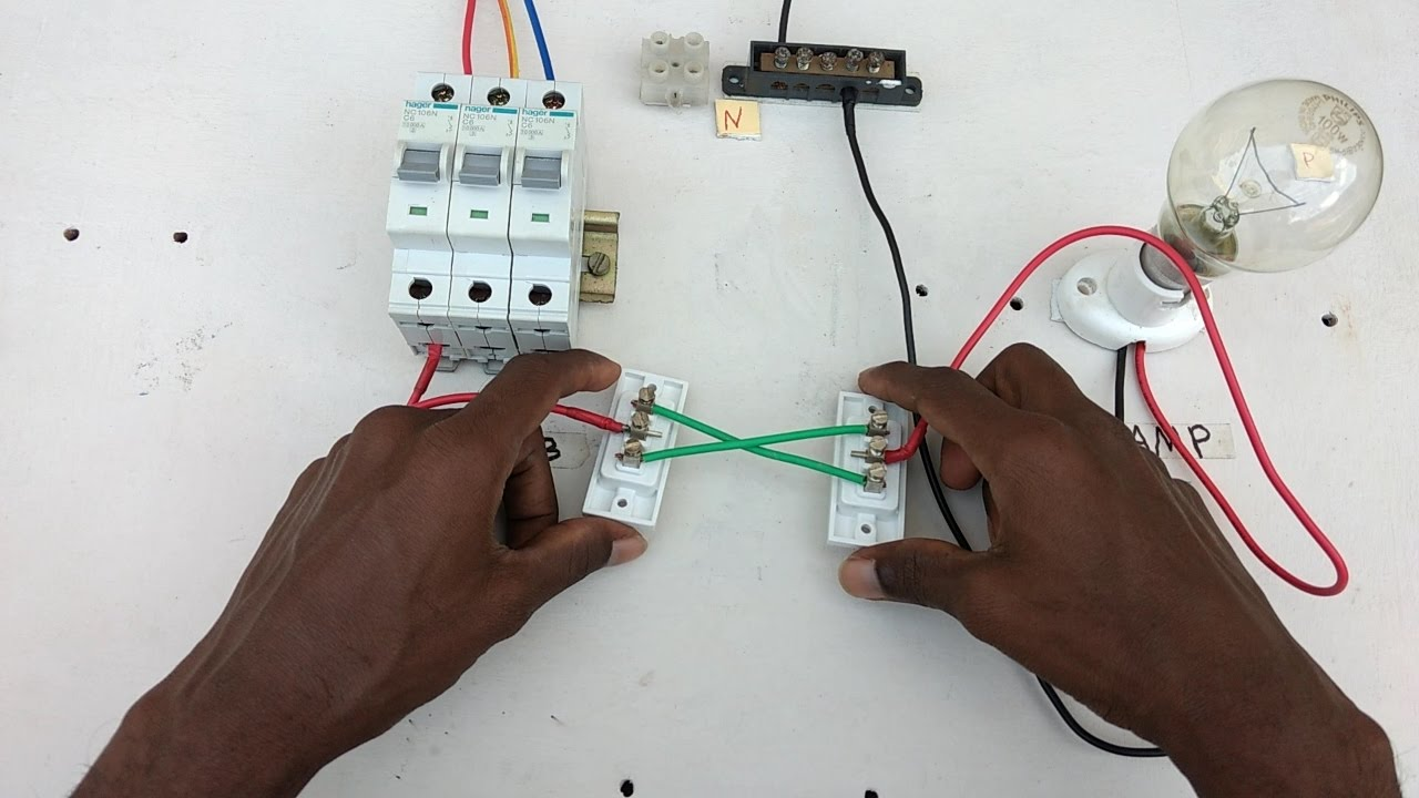 two way switch connection type 2 in tamil two way switch wiring diagram [ 1280 x 720 Pixel ]