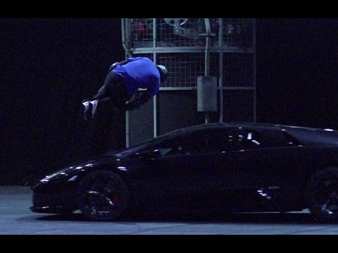 Free Runner Jumps Lamborghini in Slow Mo | Top Gear Live 2014