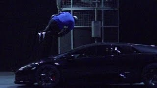 Free Runner Jumps Lamborghini in Slow Mo - Top Gear Live 2014