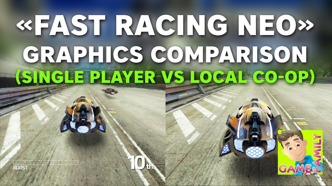 Fast Racing Neo - Graphics comparison (Single player vs Local co-op)