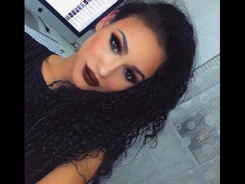 Dramatic Black Smokey Eye Makeup Tutorial: Brown Matte Lips!