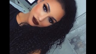 dramatic black smokey eye makeup tutorial brown matte lips