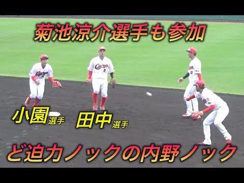広島の一軍選手にも見劣りしない小園選手の守備!菊池・田中選手も参加で超豪華な内野ノック!とにかく皆上手い!