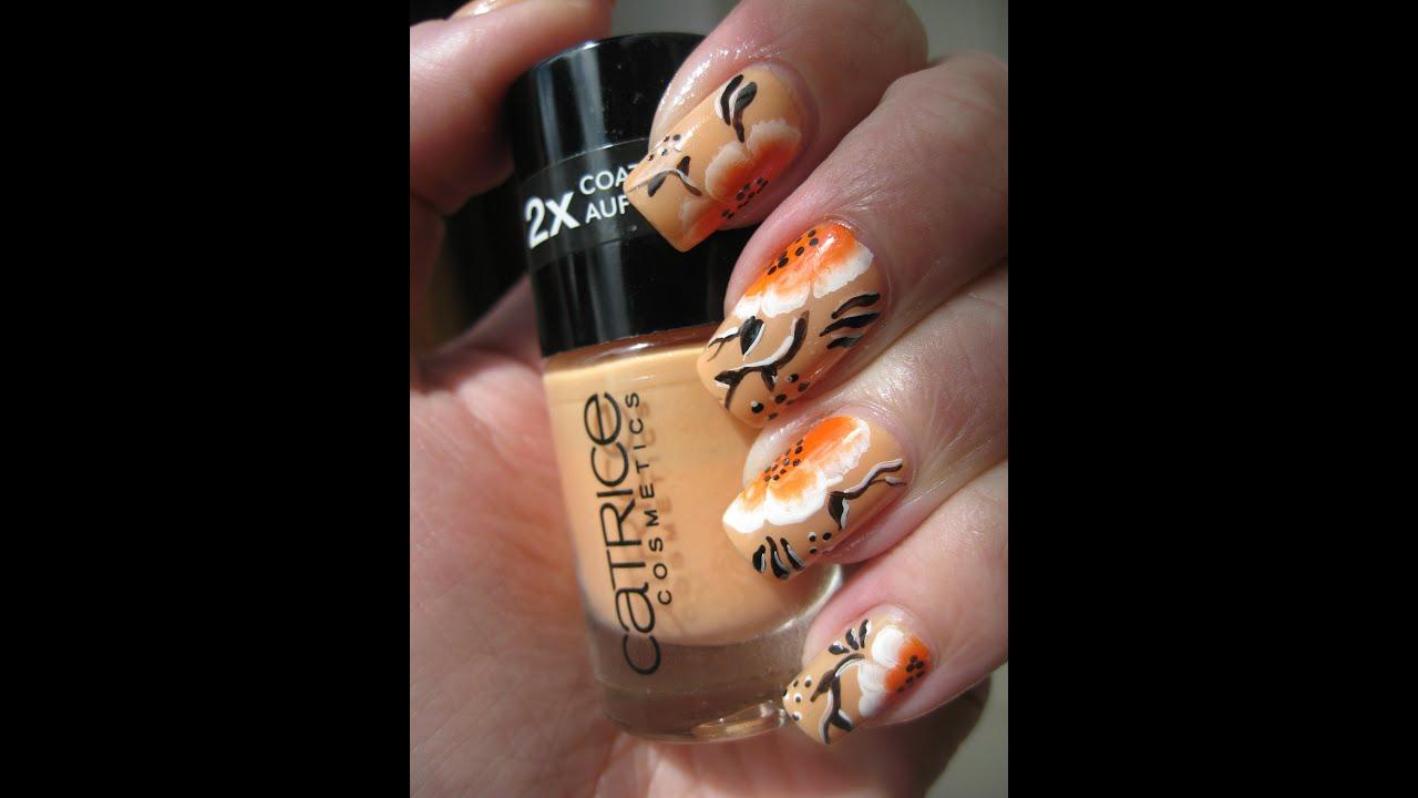 Nail Art Orange Summer Flowers Youtube