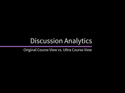 Discussion Analytics in Blackboard Learn