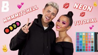 HOW TO: NEON PINK MAKEUP WITH MMMMITCHELL😱💕 | EYESHADOW TUTORIAL😍⚡️ | BEAUTY BAY