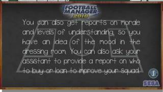 Football Manager 2010 Tuturial - Backroom Advice