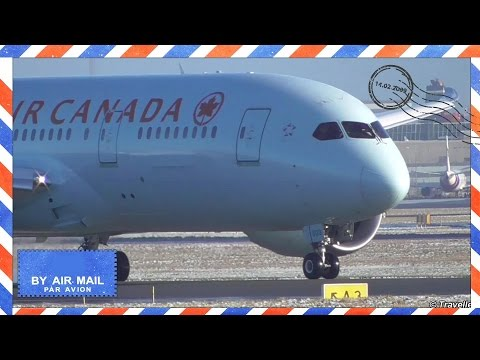 Closeup of Air Canada Dreamliner takeoff at wintry Copenhagen Airport - flight AC883 - Flyvergrillen