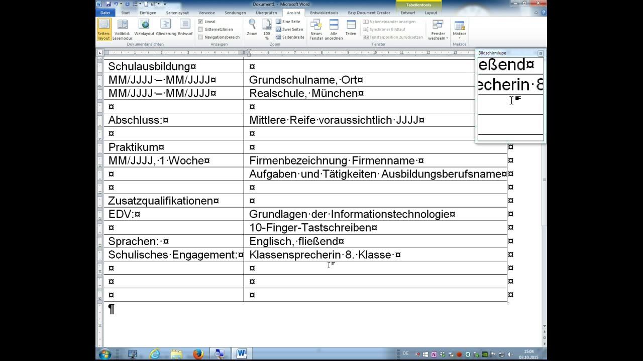 MS Office Word 2010 Tutorial - tabellarischen Lebenslauf erstellen ...