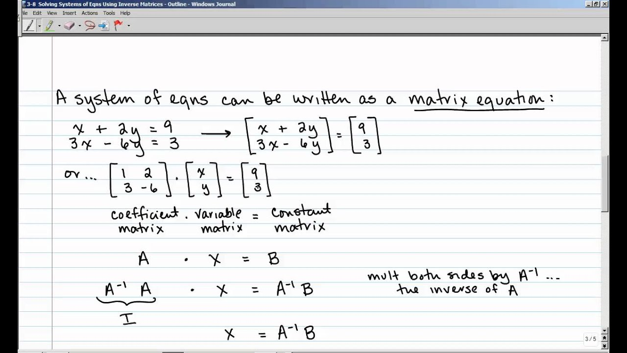 3 8 Solving Systems Of Equations Using Inverse Matrices Youtube