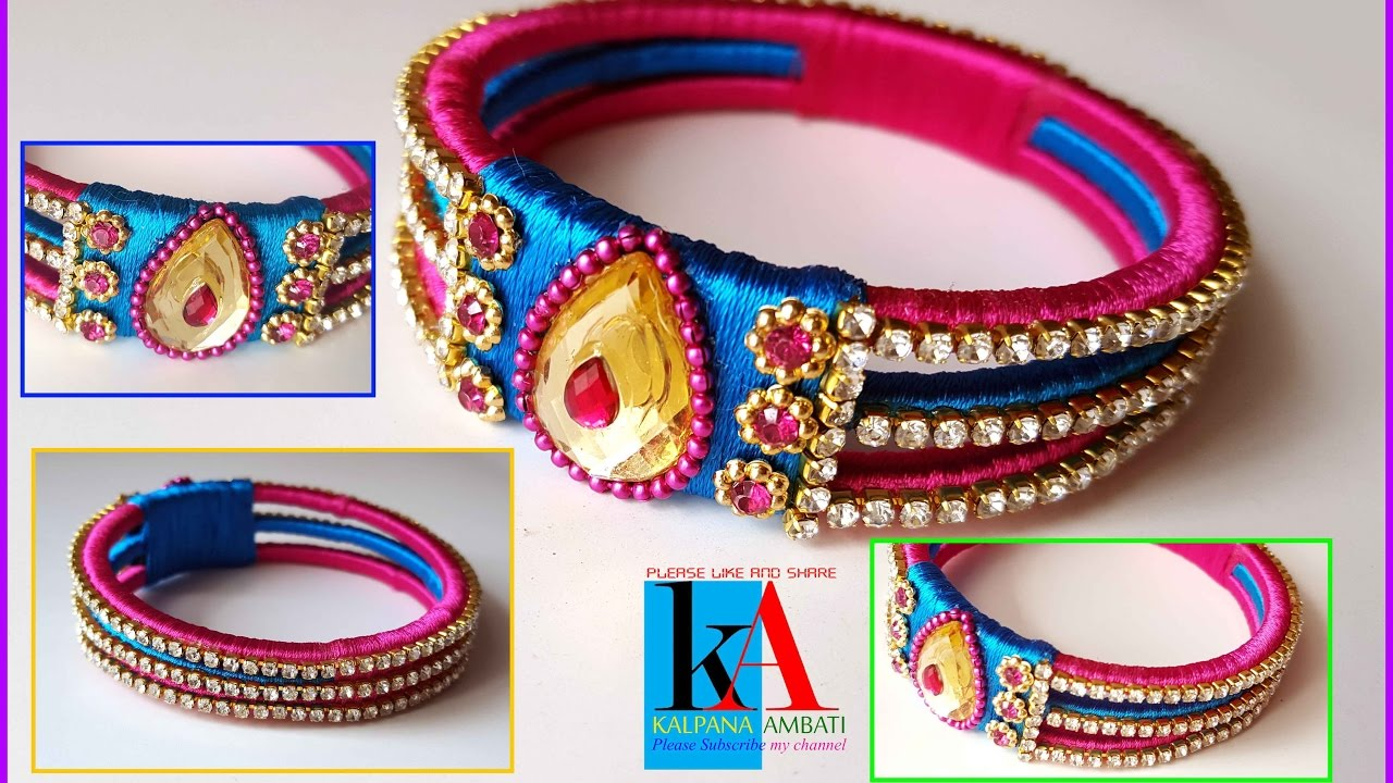 How to make old bangles into new silk thread kada bangles for Best out of waste ideas for class 12