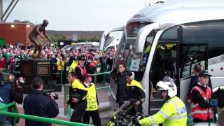 Barcelona players arriving at Celtic Park 1 10 2013