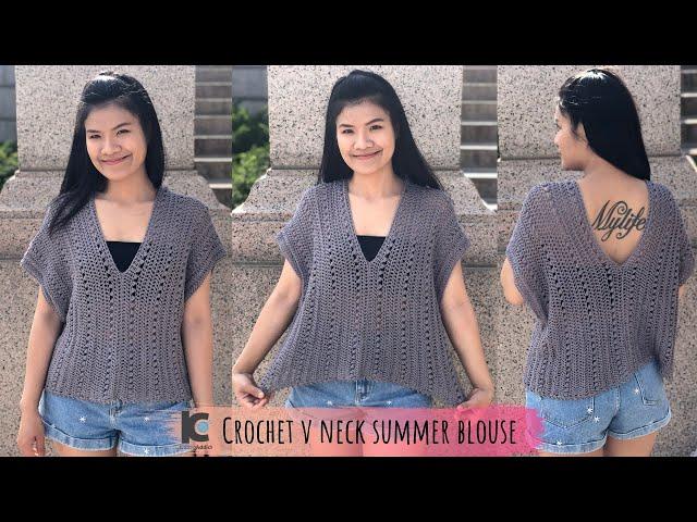 4224bcfc8b0e Crochet V neck summer blouse ( Free written pattern for sizes XS-XXL ) -  YouTube