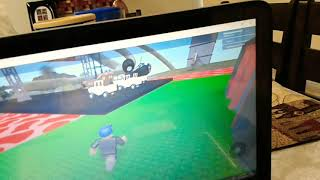 Playing roblox, I'm racing in the very first car race, so old.