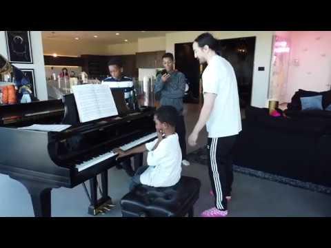 Wish Kid Jamar plays Piano with Steve Aoki