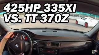 425HP BMW 335xi N54 VS Nissan 370Z Twin Turbo 1/4 Mile Drag Race