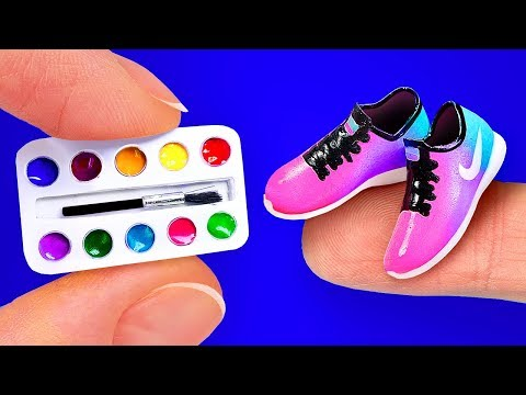 26 EASY DIY MINIATURE BARBIE IDEAS 〜 Mini paints, Nike Sneakers, Lipgloss and more!