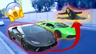JUMPING TWO SPEEDING LAMBORGHINIS BACK TO BACK! **don't attempt** thumbnail