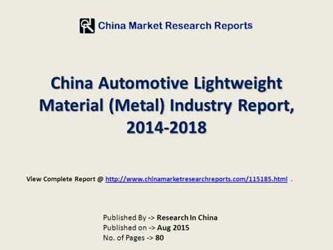 Automotive Lightweight Material Industry Analysis For China