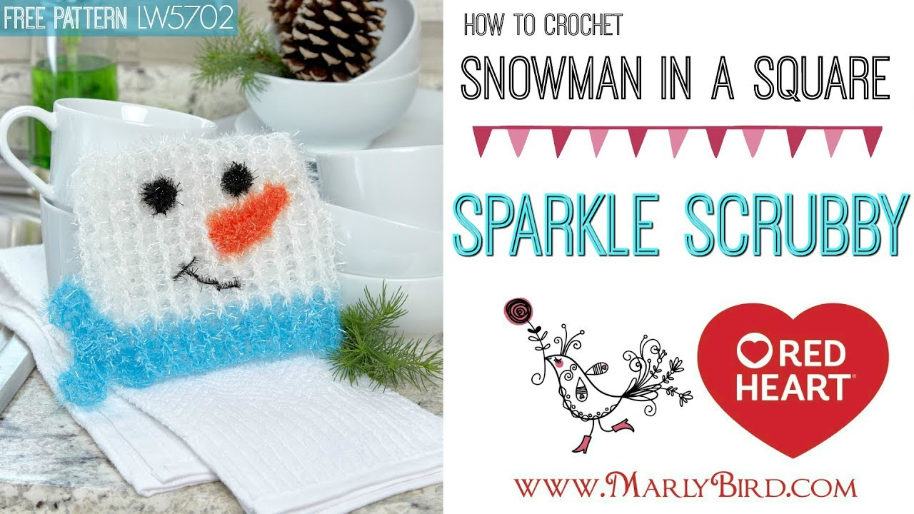 How to Crochet Snowman in a Square Scrubby - YouTube