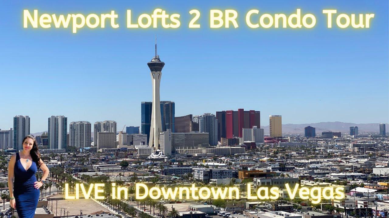 Newport Lofts 2 BR|2 BA High Rise Condo Tour in Downtown Las Vegas! INCREDIBLE STRIP VIEWS! $472K