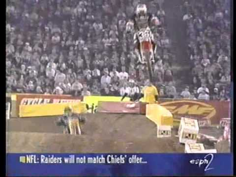Ricky Carmichael wins his first ever 125 East Supercross Title at the Pontiac Silverdome 1998