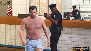 Michael Get's Arrested For Being In His Underwear In A Police Station GTA 5