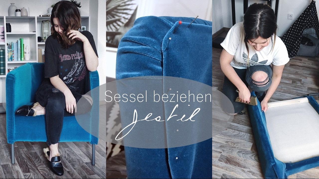 sessel neu beziehen diy velvet samt trend jestil youtube. Black Bedroom Furniture Sets. Home Design Ideas