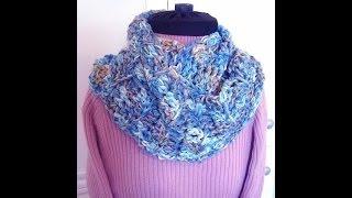 "BEGINNER CROCHET INFINITY SCARF pattern, how to diy, crochet pattern- Red Heart ""Beachy"" yarn"