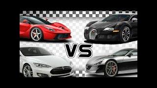 Bugatti vs La Ferrari vs Tesla Model S vs Rimac Drag Racing
