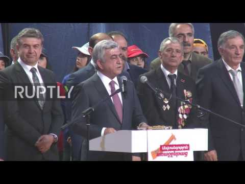 Armenia: Sargsyan stresses national security concerns in final campaign rally