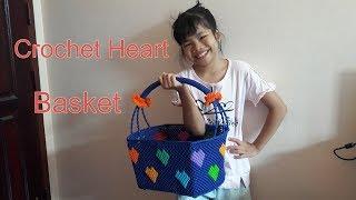How to crochet multicolor heart basket  สอนถักตะกร้าเชือกร่ม ลายหัวใจ หลากหลายสีสัน