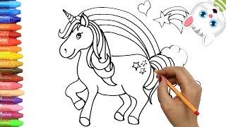 Pagina di colorazione Unicorno   Come disegnare e colora per i bambini