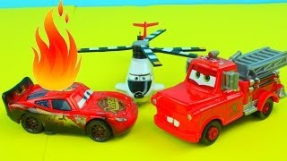 Disney Pixar Cars Recue Squad Mater Saves Lightning McQueen on fire after Truck accident