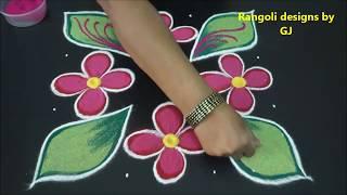 Flower rangoli designs with 7X7 staright dots - flower kolam for diwali - vijayadashami muggulu 2018