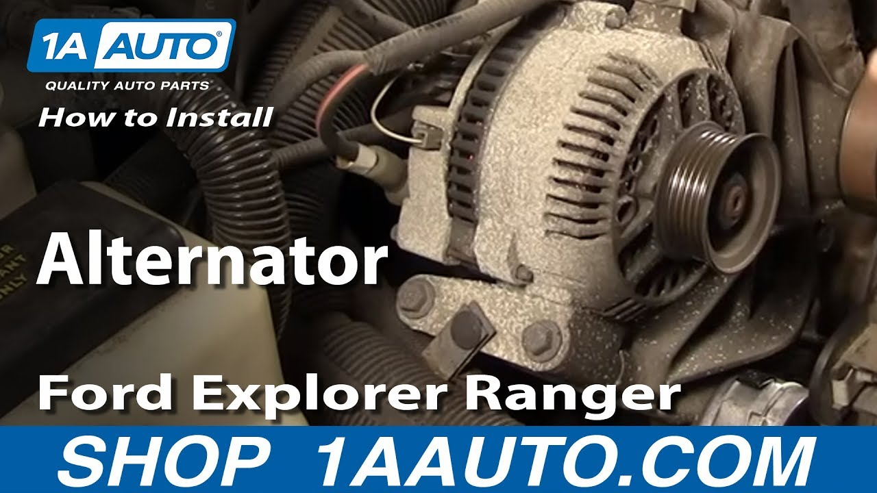 How To Install Replace Alternator Ford Explorer Ranger Truck Van 92 Mazda Wiring Diagram 40l 94 05 1aautocom Youtube