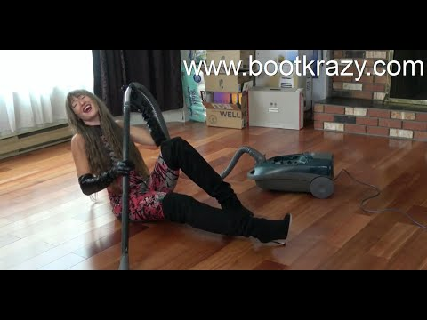 Bootkrazy: Kat Woman Kleans In Thigh High Boots