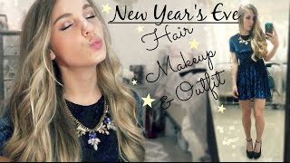 New Year's Eve Hair Makeup & Outfit | GRWM