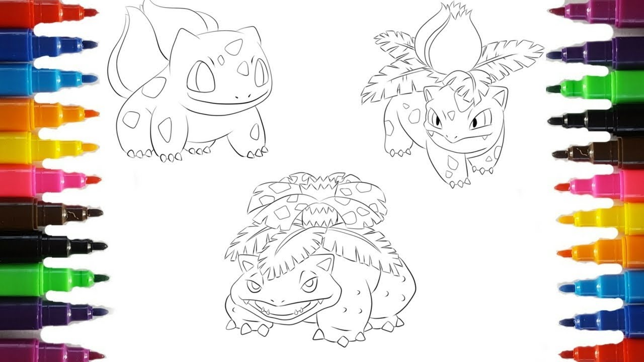 Pokemon Coloring Pages Bulbasaur Evolution Colouring book fun for kids