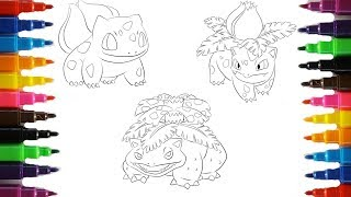 Pokemon Coloring Pages Bulbasaur Evolution Colouring Book Fun For Kids Youtube