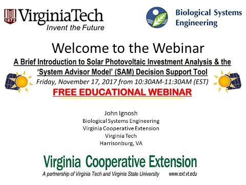 An Intro to Solar PV Investment Analysis & the 'System Advisor Model' (SAM) Tool (Webinar Recording)