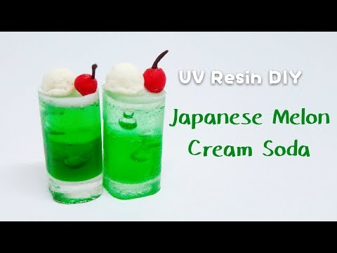 NO SILICONE MOLDS NEEDED!! UV Resin DIY Japanese Melon Cream Soda Tutorial