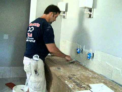 How to install marbletile backsplash on a vanity in - How to install a bathroom vanity ...