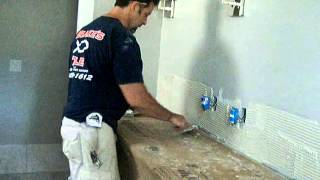 How To Install Marbletile Backsplash On A Vanity In Bathroom By Tilinginfo Part 1