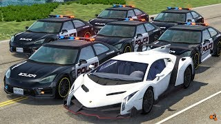 Beamng drive - Police Chases vs Sports Cars crashes #6