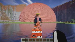Donald Trump blows up in Minecraft exploding TNT
