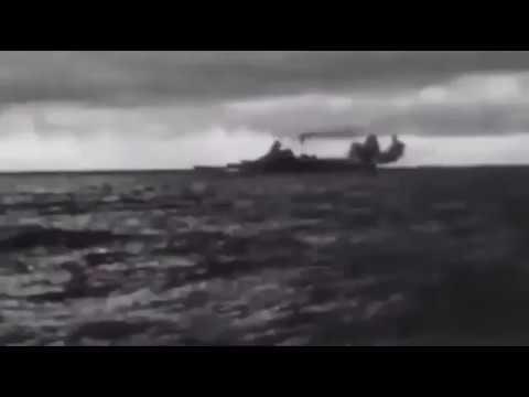 Footage of the German battleship Bismarck firing her guns on the British battlecruiser HMS Hood duri