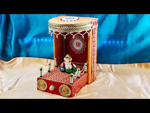 God Temple (Mandir)|| MAKHAR DECORATION|| Empty box craft || Best out of waste || DIY